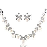 قلادات ضيقة نسائي لؤلؤ تقليدي تقليد الماس أساسي فضي قلادة مجوهرات إلى زفاف مناسب للحفلات عيد ميلاد خطوبة Geometric Shape