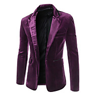 Men's Party / Casual / Daily / Work Regular Blazer, Solid Colored Peaked Lapel Long Sleeve Acrylic / Polyester Black / Purple / Wine