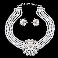 cheap -Women's Pearl Jewelry Set Earrings Bracelet Layered Flower Ladies Luxury European Fashion Birthstones Elegant Imitation Pearl Rhinestone Silver Plated Earrings Jewelry White / Necklace & Earrings