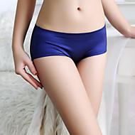 Women's Cotton Shorties & Boyshorts Panties / Seamless Panties Solid Colored Mid Waist Black Wine Royal Blue M L