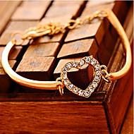 Women's Chain Bracelet Heart Love Hollow Heart Ladies Luxury Unique Design Party Fashion Cubic Zirconia Bracelet Jewelry Gold For Party Gift Valentine / Imitation Diamond