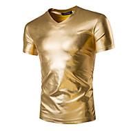 Χαμηλού Κόστους -Ανδρικά Καθημερινά T-shirt Μονόχρωμο Κοντομάνικο Λεπτό Άριστος Βασικό Εξωγκωμένος Λαιμόκοψη V Μαύρο Χρυσό Ασημί / Αθλητικά / Καλοκαίρι