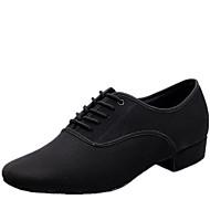 cheap -Men's Modern Shoes / Ballroom Shoes Canvas Lace-up Heel Lace-up Low Heel Non Customizable Dance Shoes Black / Indoor / EU43
