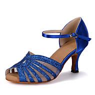 Women's Dance Shoes Sparkling Glitter / Satin Latin Shoes / Salsa Shoes Sparkling Glitter / Buckle / Hollow-out Sandal / Heel / Sneaker Flared Heel Customizable Red / Blue / Gold / Performance / EU40