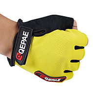 QEPAE Bike Gloves / Cycling Gloves Mountain Bike MTB Breathable Anti-Slip Sweat-wicking Protective Fingerless Gloves Half Finger Sports Gloves Leather Lycra Terry Cloth Black Yellow Red for Adults'
