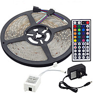 billige -5m fleksible ledlysstrimler / lyssett / rgb stripelys lysdioder 3528 smd 8mm rgb fjernkontroll / rc / kuttbar / dimbar 100-240 v / koblbar / selvklebende / fargeskiftende / ip44