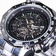 WINNER Men's Skeleton Watch Wrist Watch Mechanical Watch Automatic self-winding Stainless Steel Silver Hollow Engraving Analog Luxury - White Black