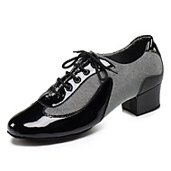 cheap -Men's Latin Shoes / Jazz Shoes / Ballroom Shoes Leatherette Lace-up Sandal / Heel Lace-up Chunky Heel Customizable Dance Shoes Black / Silver / Red / Indoor / Performance / Practice / Professional
