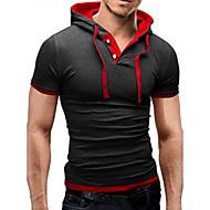 Χαμηλού Κόστους -Ανδρικά Καθημερινά T-shirt Κοντομάνικο Άριστος Βασικό Με Κουκούλα Μπλε Μαύρο Μαύρο / Κόκκινο Μαύρο / Άσπρο / Αθλητικά / Καλοκαίρι / Πολύ στενό