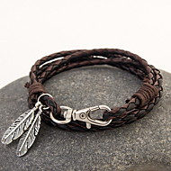 Läder Armband Multi lager Rep stapelbar Fjäder Bohemisk Mode Bohem Multi lager Indianer Läder Armband Smycken Brun / Röd / Svartvit Till Julklappar Dagligen Casual