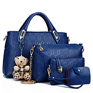 نسائي PU توتي / غطاء مجموعات حقيبة لون سادة 4 قطع محفظة مجموعة أحمر / أزرق / بني فاتح