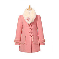 Kids Girls' Daily Patchwork Long Sleeve Long Jacket & Coat Red