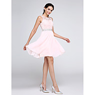 A-Line Illusion Neck Short / Mini Chiffon / Corded Lace Cocktail Party Dress with Crystals / Lace Insert by TS Couture®