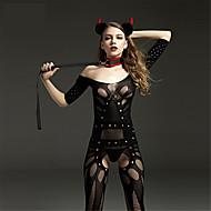 Women's Mesh Plus Size Gartered Lingerie / Ultra Sexy / Teddy Nightwear Solid Colored Black XL XXL XXXL