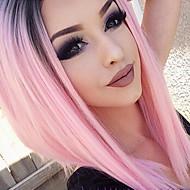 Syntetisk Lace Front Parykker Lige Ret Blonde Front Paryk Pink Lys pink Syntetisk hår Dame Pink