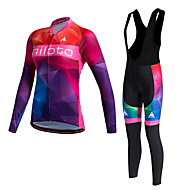 Miloto Women's Long Sleeve Cycling Jersey with Bib Tights - Red Bike Clothing Suit, Thermal / Warm, Quick Dry, Fleece Lining, Sweat-wicking, Winter, Polyester, Fleece Gradient / Stretchy / Plus Size