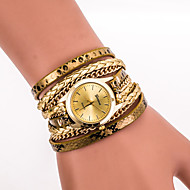 Women's Fashion Watch Wrist watch Bracelet Watch Quartz Colorful PU Band Vintage Casual Leopard Bohemian Cool Black White Blue Silver Red