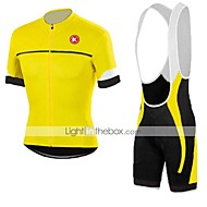 KEIYUEM Men's Women's Short Sleeve Cycling Jersey with Bib Shorts Bike Clothing Suit Breathable Quick Dry Back Pocket Sweat-wicking Sports Coolmax® Mesh Silicon Classic Clothing Apparel / Stretchy