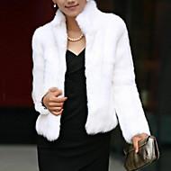 Χαμηλού Κόστους -Γυναικεία Όρθιος Γιακάς Χειμώνας Γούνινο παλτό Κοντό Μονόχρωμο Λευκό Μαύρο Τ M L