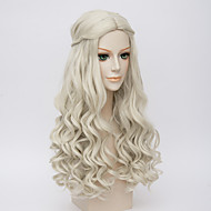 Synthetic Wig Cosplay Wig Wavy Kardashian Style Wig White Synthetic Hair Women's Middle Part Braided Wig White Wig Long Very Long