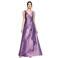 A-Line V Neck Floor Length Taffeta Formal Evening Dress with Crystal Brooch / Pleats by TS Couture®