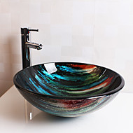 Bathroom Sink / Bathroom Faucet / Bathroom Mounting Ring Contemporary - Tempered Glass Round Vessel Sink