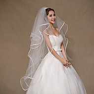 Four-tier Ribbon Edge Wedding Veil Fingertip Veils with Tulle / Classic