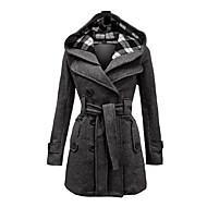 levne -Dámské Zima Kabát Dlouhé Pléd Denní Vintage Větší velikosti Černá Červená Modrá S M L