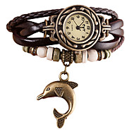 Women's Bracelet Watch Wrist Watch Wrap Bracelet Watch Quartz Quilted PU Leather Black / White / Blue Punk Imitation Diamond Analog Ladies Vintage Casual Bohemian Fashion - Brown Red Light Blue