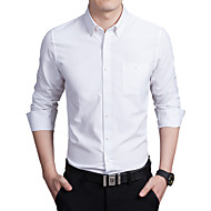 Men's Plus Size Solid Colored Slim Shirt Business Daily Work Wine / White / Black / Navy Blue / Pink / Gray / Light Blue / Fall / Long Sleeve