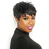 cheap -Human Hair Wig Short Straight Layered Haircut Short Hairstyles Berry Classic Straight Black Blonde Brown Natural Capless Women's Palest Blonde Honey Blonde / Bleached  8 inch Daily pixie cut