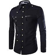 billige -Tynn Klassisk krage Skjorte Herre - Ensfarget, Grunnleggende Militær Navyblå / Langermet / Vår / Høst