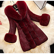 Women's Daily / Going out Fall / Winter Maxi Fur Coat, Solid Colored Turndown Faux Fur / Faux Leather Fur Trim White / Black / Red