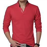 abordables -Hombre Diario Tallas Grandes Camiseta Un Color Manga Larga Tops Algodón Activo Escote Chino Blanco Negro Rojo / Primavera / Otoño