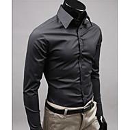 povoljno -Muškarci Vjenčanje Majica Jednobojni Dugih rukava Slim Tops Posao Ulični šik Obala Crn Bijela / Rad