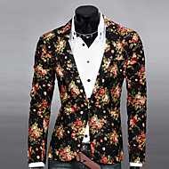 Men's Daily Spring / Fall Regular Blazer, Floral Notch Lapel Long Sleeve Polyester Print Black / White / Gray / Slim
