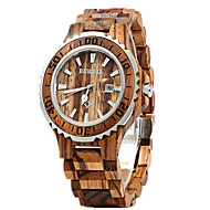 Couple's Wrist Watch Quartz Wood Red 30 m Calendar / date / day Analog Luxury Classic Fashion Wood - Brown Red Rainbow Two Years Battery Life