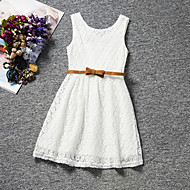 abordables -Niños Chica Dulce Fiesta Diario Cumpleaños Un Color Encaje Sin Mangas Regular Regular Vestido Blanco