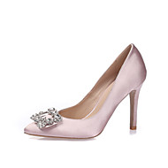 Women's Heels Stiletto Heel Pointed Toe / Closed Toe Rhinestone / Sparkling Glitter Silk Spring / Summer Black / Blue / Light Pink / Wedding / Party & Evening