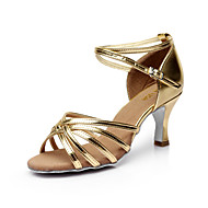 cheap -Women's Dance Shoes Satin Latin Shoes / Salsa Shoes Buckle Sandal Customized Heel Customizable Silver / Brown / Gold / Performance / Leather / EU40