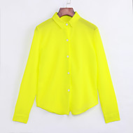 Women's Daily Shirt - Solid Colored Shirt Collar Yellow / Fall