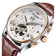 levne -KINYUED Pánské Hodinky s lebkou mechanické hodinky Automatické natahování Luxus Voděodolné Analogové Bílá Černá Zlatá / černá / Kůže / japonština / Kalendář / Chronograf / japonština