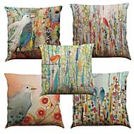 abordables -5 PC Lino Natural / Orgánico Cobertor de Cojín Funda de almohada, Un Color Floral A Cuadros Casual Retro Tradicional / Clásico