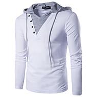 billige -Herre T-shirt Ensfarvet Patchwork Tynd Toppe Bomuld Aktiv Gade Hætte Hvid Sort / Langærmet
