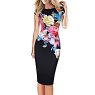 女性用 ストリートファッション プラスサイズ パンツ - フラワー プリント ブルー / パーティー / スリム