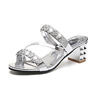Dam Sandaler Kristallandaler Bastant klack / Block Heel PU Komfort Vår Guld / Silver
