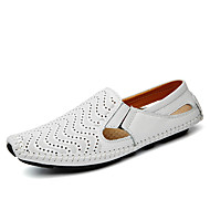Men's Comfort Loafers Nappa Leather Spring / Summer / Fall Loafers & Slip-Ons Walking Shoes Black / White / Yellow / Split Joint / Office & Career / Driving Shoes / EU40