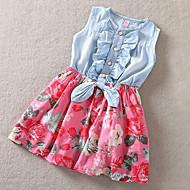 hesapli -Çocuklar Toddler Genç Kız Actif sevimli Stil Günlük Tatil Çiçekli Fiyonklar Kolsuz Elbise Beyaz