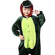 Crianças Pijamas Kigurumi Dragão Dinossauro Pijamas Macacão Flanela Tosão Verde Cosplay Para Meninos e meninas Pijamas Animais desenho animado Festival / Celebração Fantasias