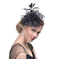 Women's Kentucky Derby Hat Solid Color Mesh Acrylic Feather Party